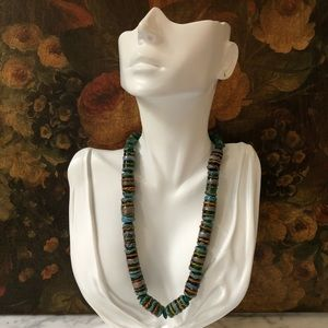 Vintage Art Glass Natural Stone Beaded Necklace